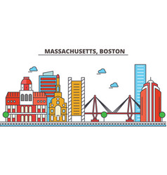 Massachusetts bostoncity skyline architecture vector