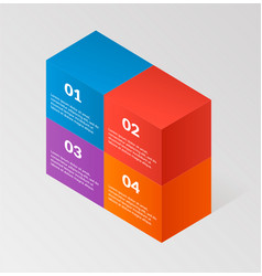 Modern isometric infographics blocks wall elemsnts vector