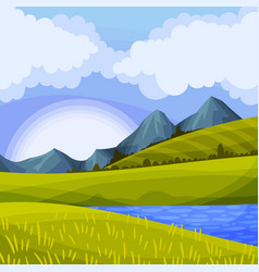 Mountain peaks lake and grassy hills as green vector