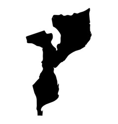 mozambique - solid black silhouette map of country vector image