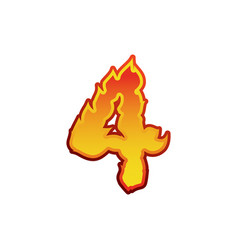number 4 fire flames font four tattoo alphabet vector image