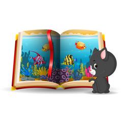 Ocean scene in the book and cat vector