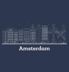 Outline amsterdam holland republic city skyline vector