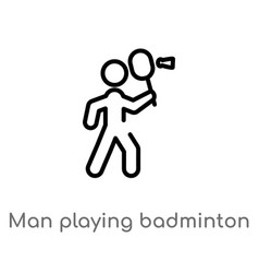 Outline man playing badminton icon isolated black vector