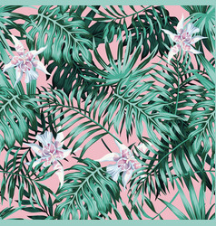 Palm leaves pink background pattern vector