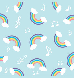 pastel rainbow with note seamless pattern vector image