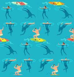 People swimming and diving ocean summer time on vector