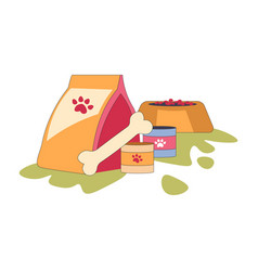 pets food bowl pack and bone canned meal isolated vector image