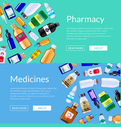 pharmacy medicine bottles web banner vector image
