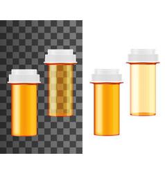 Pill bottle and jar realistic mockups medecine vector