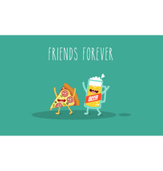Pizza and glass beer vector