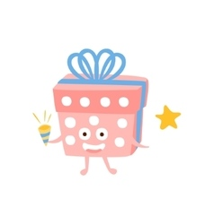 Present Box With Party Horn Children Birthday vector
