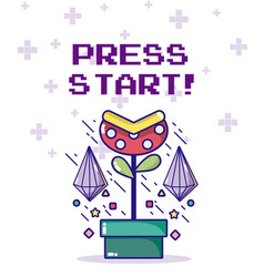 press start videogame character vector image