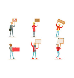 protesting people set men and women holding blank vector image