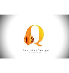 q orange letter design brush paint stroke gold vector image