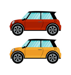 red and yellow cars in retro style vector image