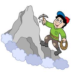 Rock climber on mountain vector