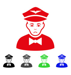 Sad airline steward icon vector