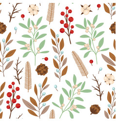 Seamless pattern with winter evergreen plants vector