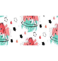 Seamless watermelons pattern background vector