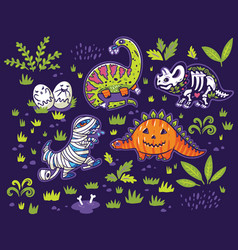 set cartoon dinosaurs in costumes a pumpkin vector image