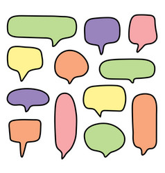 set colorful of hand drawn speech bubble vector image