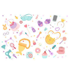 set for girls cosmetics accessories items clothes vector image