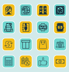 Set of 16 commerce icons includes recurring vector