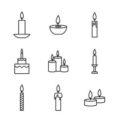 set of candles icons vector image
