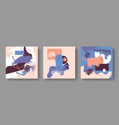 set three abstract cardsdrawn doodles cats vector image