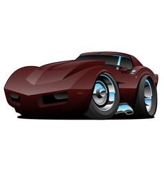 seventies american sports car cartoon vector image