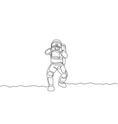 Single continuous line drawing astronaut doing vector