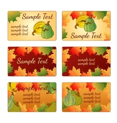 Six templates and cards with pumpkins and leaves vector