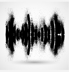 Sound waves black brush ink hand-drawn icon with vector