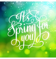 Spring for you Lettering text Abstract background vector