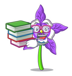 Student with book columbine flower mascot cartoon vector