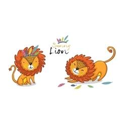 sunny lion set king jungle animal vector image
