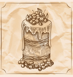 sweet retro cake with fruit and berries treat for vector image