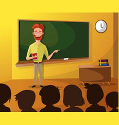 Teacher teaching students in classroom world book vector