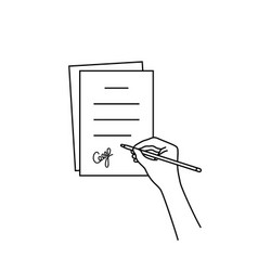 thin line hand with signed document vector image