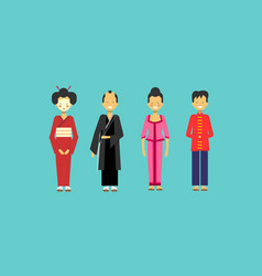 traditional asian costumes set people wearing vector image