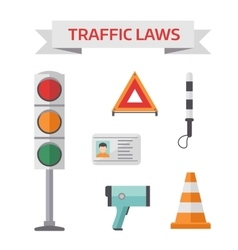 Traffic road police symbols set flat elements vector