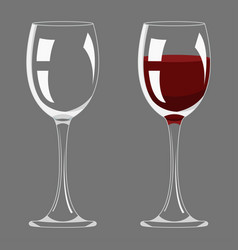 transparency empty and full wine glass design vector image