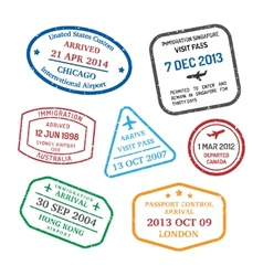 travel visa stamps vector image