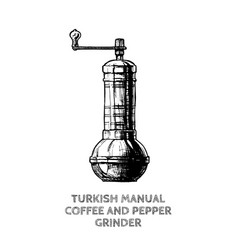 turkish coffee and pepper grinder vector image