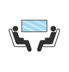 two passengers seating and looking in window vector image