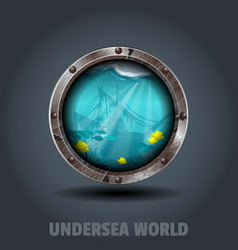 undersea world rusty iron rounded badge icon for vector image