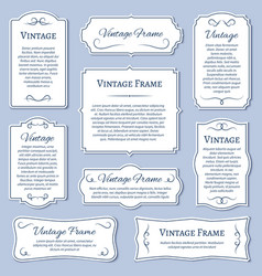 vintage frame labels with calligraphic text vector image