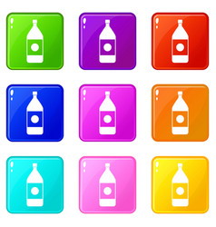 water bottle icons 9 set vector image