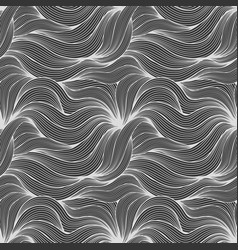 wave dark monochrome seamless pattern vector image